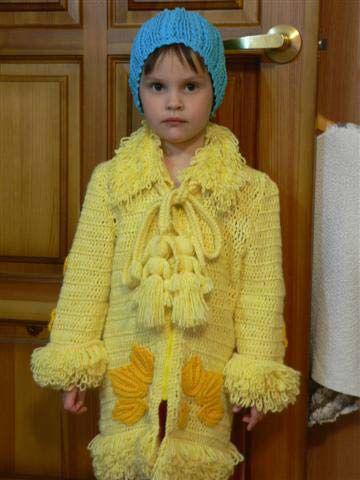 Детей вязаное пальто крючком пальто