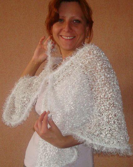 креативное вязание спицами белый палантин