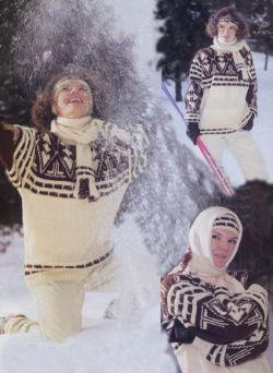 вязание спицами комплект свитер шарф повязка на голову.