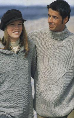 вязание спицами пуловер с капюшоном.