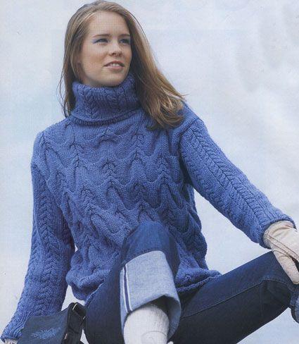 Вязание свитеров косами.