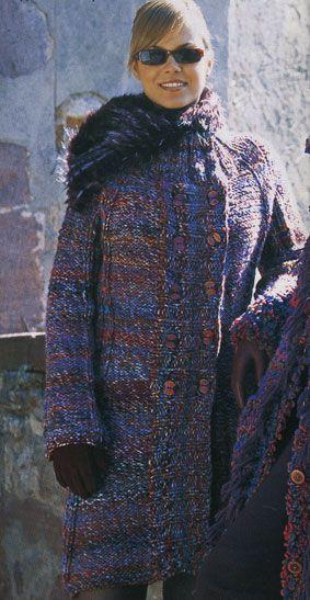 Вязание спицами пальто из меланжевой пряжи 99