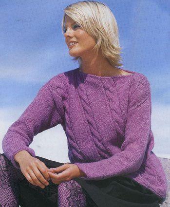 Размеры вязаного пуловера спицами: 40/44.  Вязание пуловеров спицами.