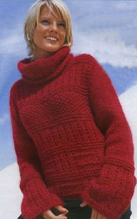 Вязание женские полуверы.  Вам потребуется: 400 (450) г карминно-красной...