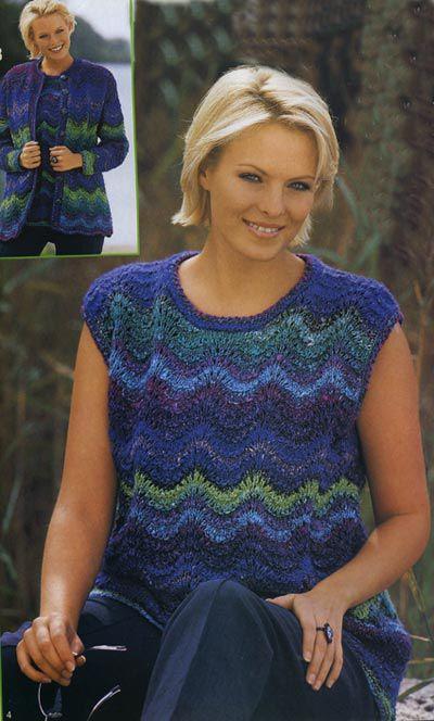Схемы и выкройки женских вязаных свитеров для полных