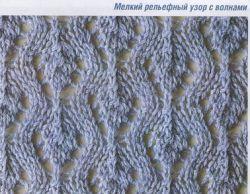 Рельефный узор волнами спицами