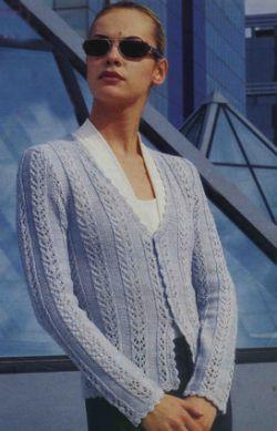 вязание женской кофточки спицами.