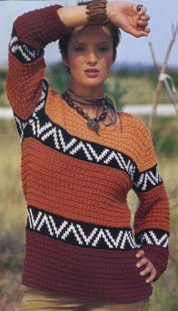 Вязание спицами - модель, схема женский узорчатый пуловер с кружевной кокеткой и шарф.