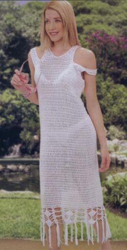 Белое платье - Вязание крючком для.