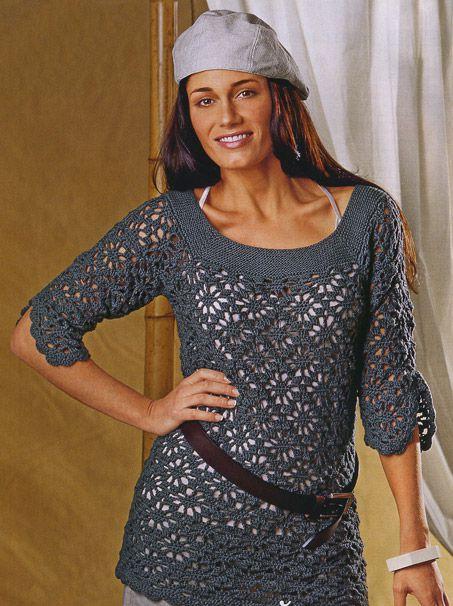 Вязание ажурный пуловер туника