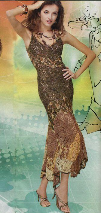 Вечернее платье крючком Светлана Тануркова Платье крючком.Платье филейной вязкой. . Узор для платья вязаного крючком