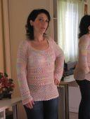 Розово-сиреневый пуловер