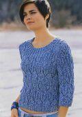 вязание спицами свитера женские схемы.  Темно-синий пуловер с круглой кокеткой связанный спицами.  Схема.