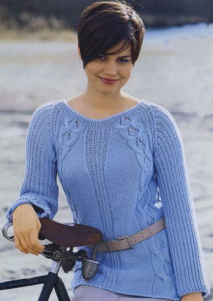 расклешенный пуловер вязание спицами для женщин узелокру