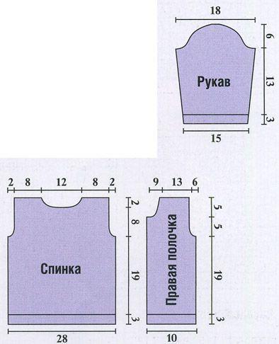 Схема детской кофточки на 3 месяца