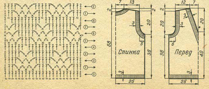 Белый ажурный жилет.  Тунисское вязание Вязание длинным крючком.