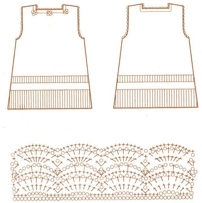 Вязание платья.  Общее число петель должно делиться на 12.  Платье выполняется ажурной вязкой крючком 2. Вязаное...