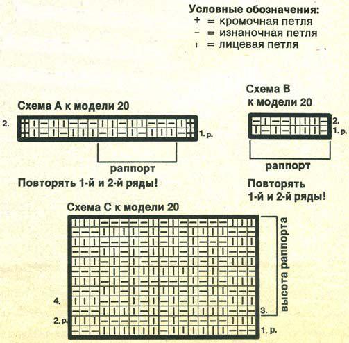 Рельефная резинка: вязать по схемам...  Вам потребуется: 800 г коричневой пряжи (100% хлопка; 83 м/50 г); спицы 3 и 4...