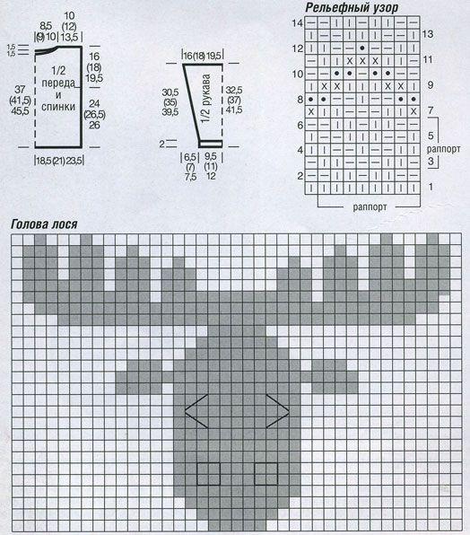 схемы вязания спицами свитера.