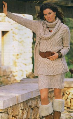 Вязание спицами Пуловер с косами, юбка и шарф для женщин.