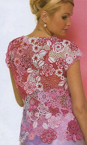 вязание крючком летняя блуза