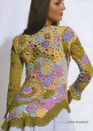 вязание крючком пуловер