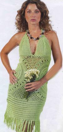 вязание крючком зеленое платье