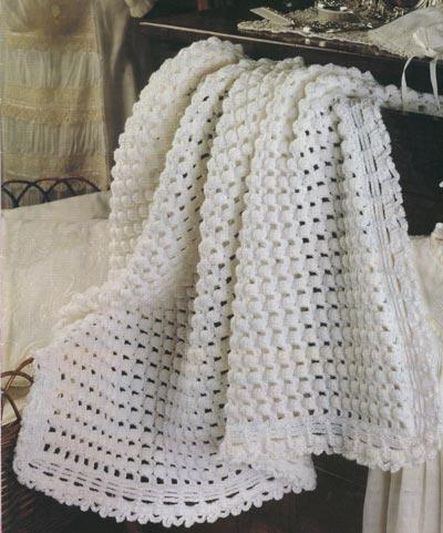 вязание крючком белое покрывало