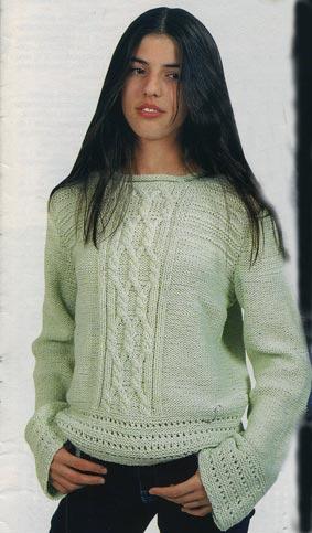 вязание спицами светло-зеленый пуловер