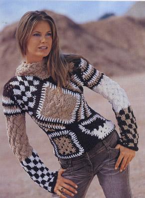 """вязание крючком и спицами пуловер в стиле """"пэчворк"""""""