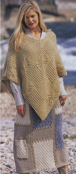 вязание спицами икрючком пончо и юбка