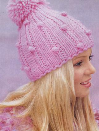 вязание спицами розовая шапочка