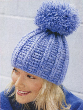 вязание крючком голубая шапочка