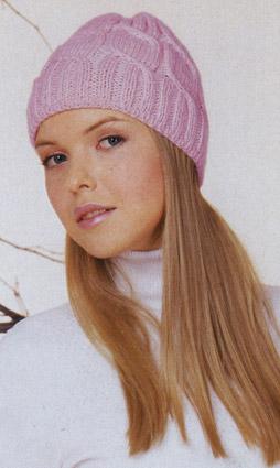 вязание спицами шапочка розовая