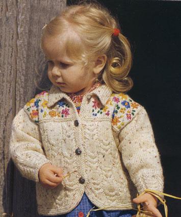 вязание спицами жакет с вышивкой