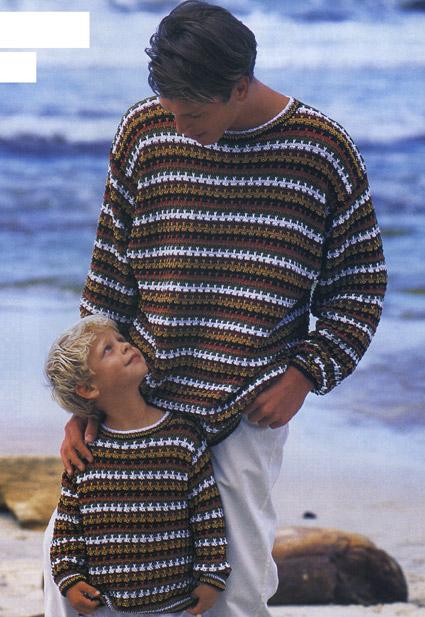 вязание спицами пестрый пуловер