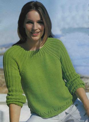 вязание спицами и крючком зеленый пуловер
