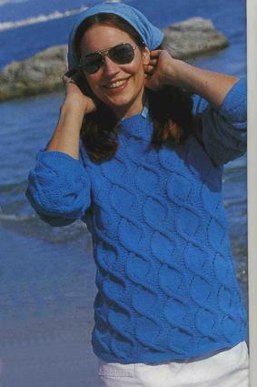 вязание спицами и крючком узорчатый пуловер