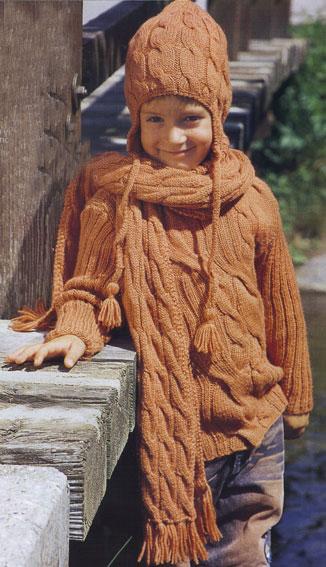 вязание спицами пуловер шарф и шапочка