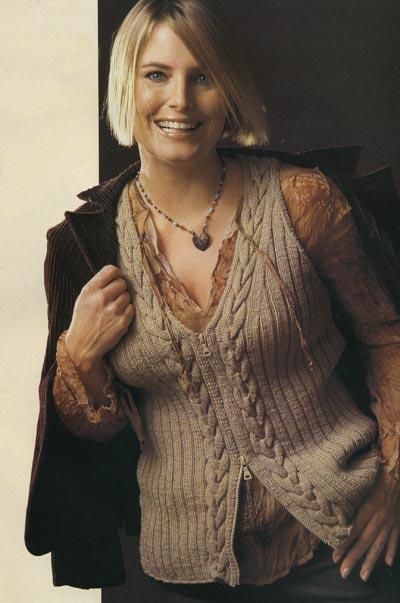 вязание спицами жилет с косами