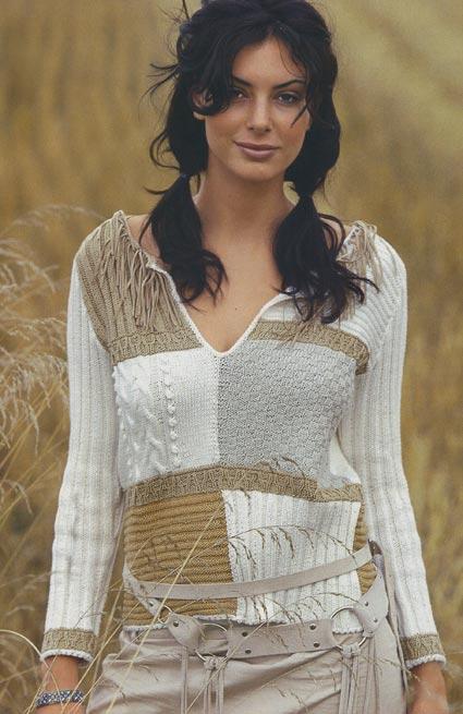 вязание спицами пуловер с коллажем узоров