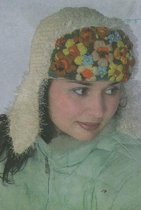 вязание крючком шапка с ушками