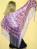 Бело-розовая шаль