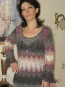 Полосато-меланжевый пуловер